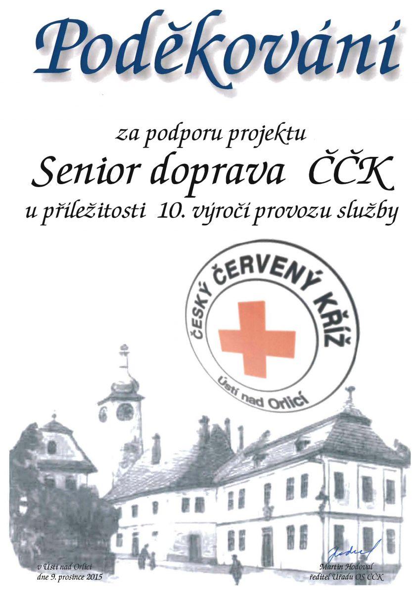 Poděkování za podporu projektu Senior doprava ČČK